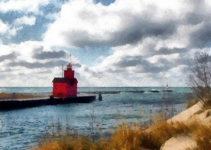 Lighthouse Greeting Card featuring the photograph Big Red Big Wind by Michelle Calkins