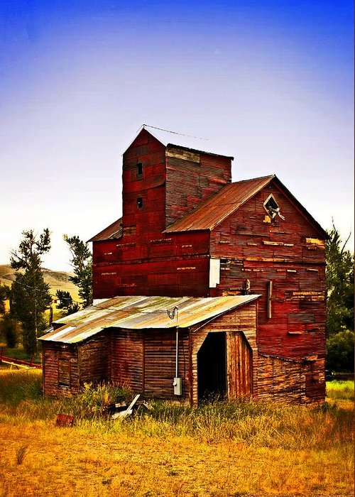 Grain Elevator Greeting Card featuring the photograph Big Red Grain Elevator by Marty Koch