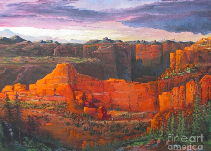 Southwest Greeting Card featuring the painting Big Red Rocks by John Wise