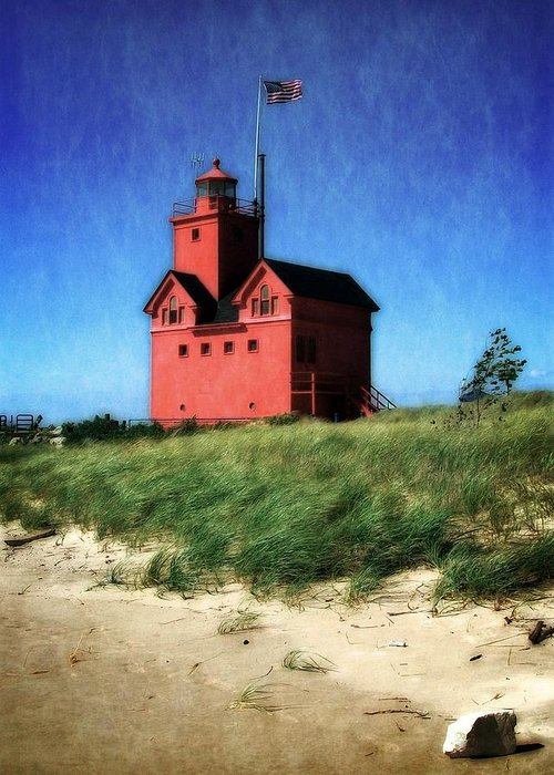 Michigan Greeting Card featuring the photograph Big Red With Flag by Michelle Calkins