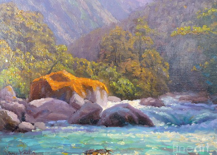 Rivers Greeting Card featuring the painting Big Rocks Holyford River by Terry Perham