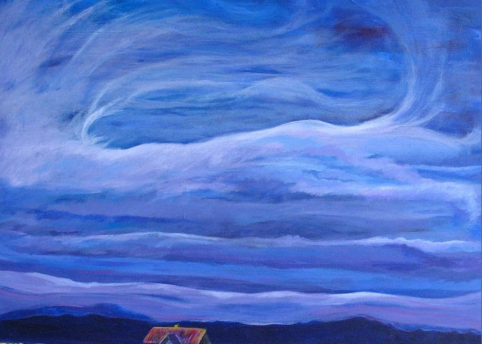 Landscape Greeting Card featuring the painting Big Sky by D L Taylor