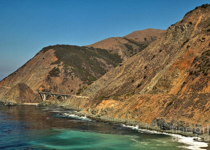 California State Parks Greeting Card featuring the photograph Big Sur And The Bridge by Adam Jewell