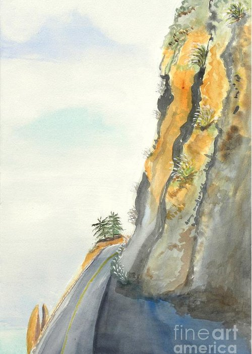 Rocky Point Greeting Card featuring the painting Big Sur Highway One by Susan Lee Clark