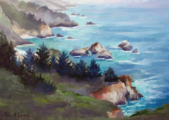 Big Sur Greeting Card featuring the painting Big Sur In The Mist by Karin Leonard