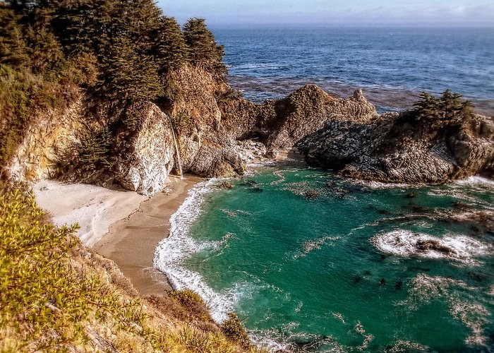 Big Sur Greeting Card featuring the photograph Big Sur - Mcway Falls by Glenn McCarthy Art and Photography