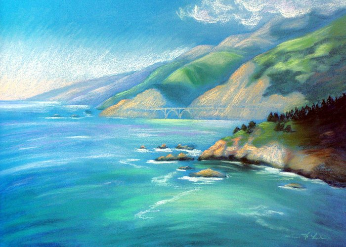 Big Sur Greeting Card featuring the pastel Big Sur Serenity by Karin Leonard