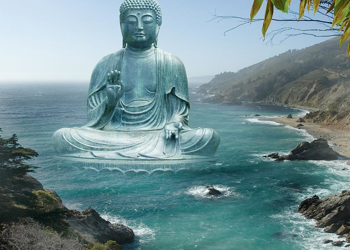 Alixandra Mullins Greeting Card featuring the photograph Big Sur Tea Garden Buddha by Alixandra Mullins