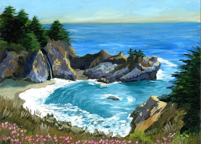 Seascape Greeting Card featuring the painting Big Sur Waterfall by Alice Leggett