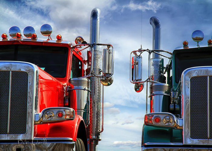 Transportation Greeting Card featuring the photograph Big Trucks by Bob Orsillo