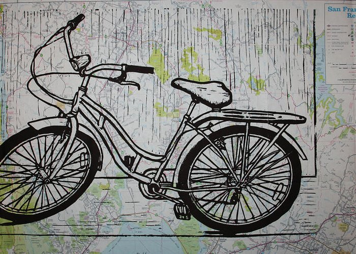 Bike Greeting Card featuring the drawing Bike 5 On Map by William Cauthern