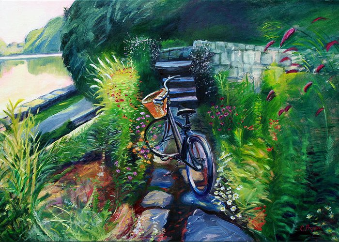 Bike Greeting Card featuring the painting Bike In The Butterfly Garden by Colleen Proppe
