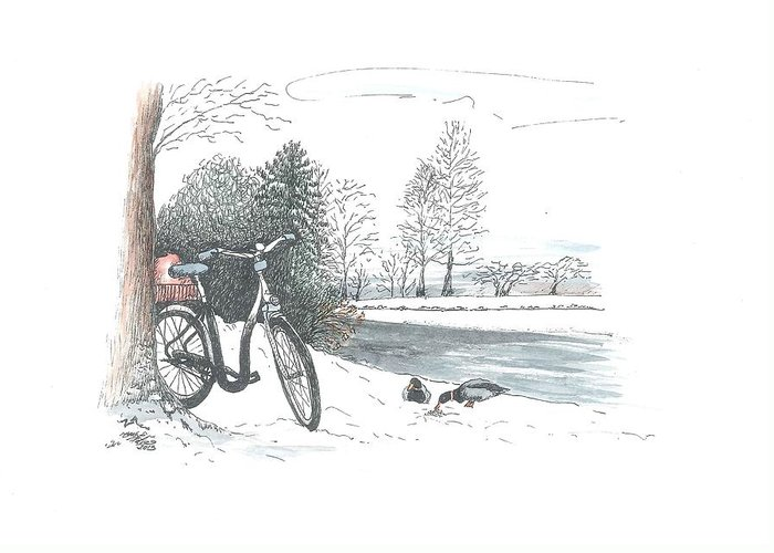 Bike Greeting Card featuring the painting Bike In The Snow by Petra Stephens