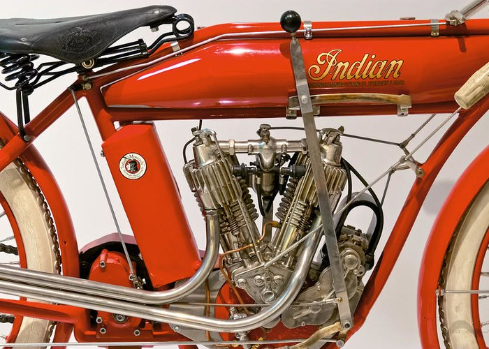 Savad Greeting Card featuring the photograph Bike - Motorcycle - Indian Motorcycle Engine by Mike Savad