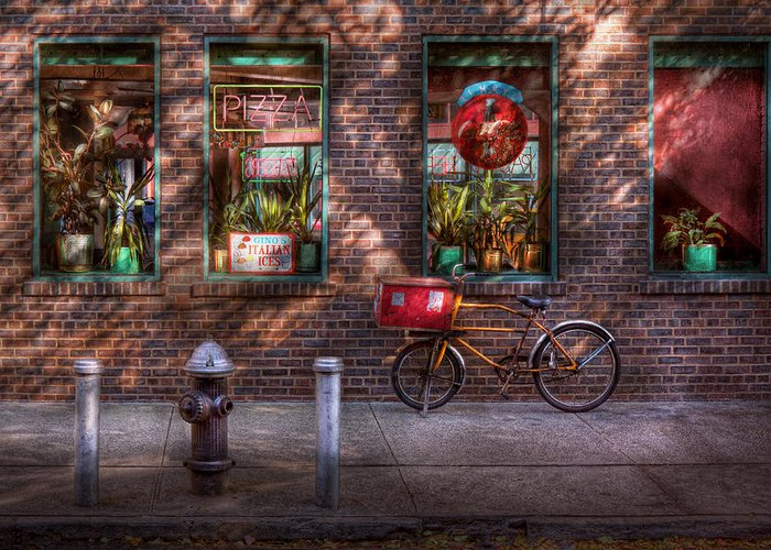 American Diner Greeting Card featuring the photograph Bike - Ny - Chelsea - The Delivery Bike by Mike Savad