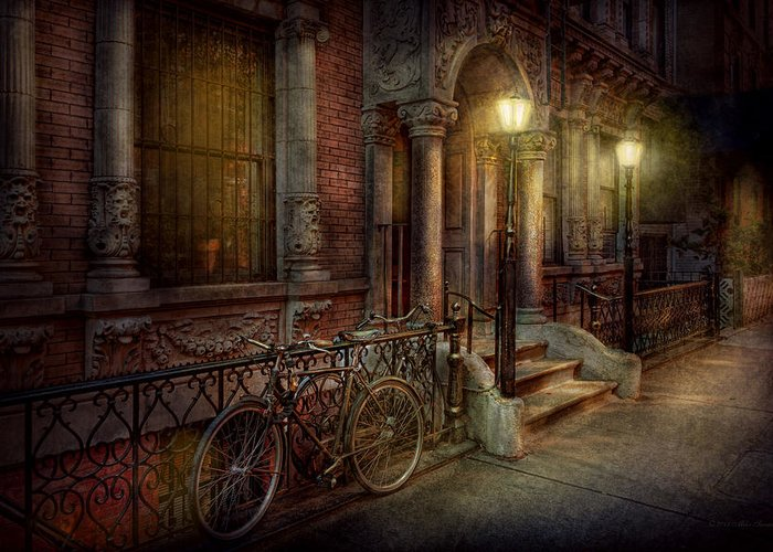 Savad Greeting Card featuring the photograph Bike - Ny - Greenwich Village - In The Village by Mike Savad