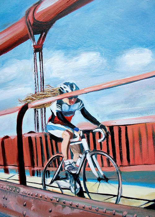Woman Greeting Card featuring the painting Bike On The Golden Gate Bridge by Colleen Proppe