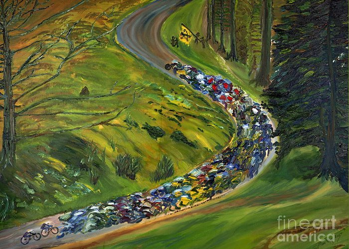 Lance Armstrong Greeting Card featuring the painting Bike Race Belgium Arden Spring Classics by Gregory Allen Page