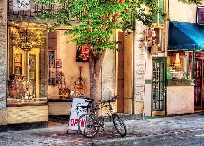 Savad Greeting Card featuring the photograph Bike - The Music Store by Mike Savad