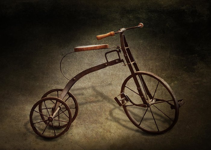 Hdr Greeting Card featuring the photograph Bike - The Tricycle by Mike Savad