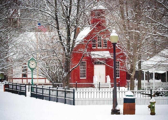 Landscape Greeting Card featuring the photograph Billie Creek Village Winter Scene by Virginia Folkman