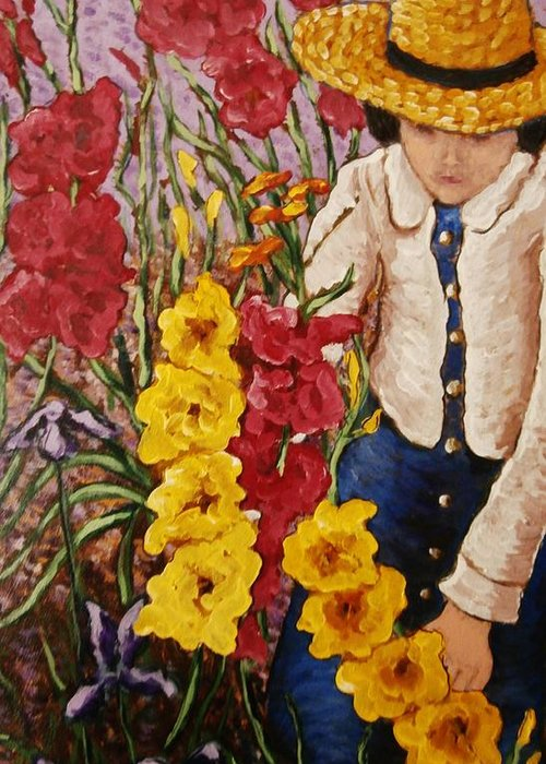 Impressionist Painting Greeting Card featuring the painting Billies Garden by Frank Morrison