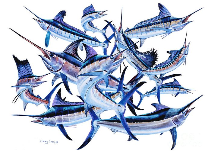 Billfish Greeting Card featuring the painting Bills Off0044 by Carey Chen
