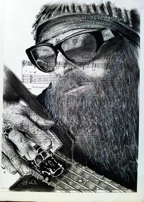 Billy Gibbons Zztop Rock Southern Rock Rocknroll Music Eliminator Legs Sharp Dress Man Greeting Card featuring the drawing Billy Gibbons by S G Williams