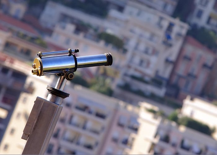Azure Greeting Card featuring the photograph Binoculars View Of City by Ioan Panaite