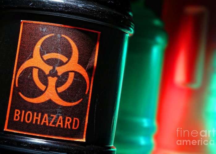 Biohazard Greeting Card featuring the photograph Biohazard by Olivier Le Queinec
