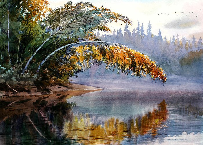 Landscape Greeting Card featuring the painting Birch Creek Beauty by Vladimir Zhikhartsev