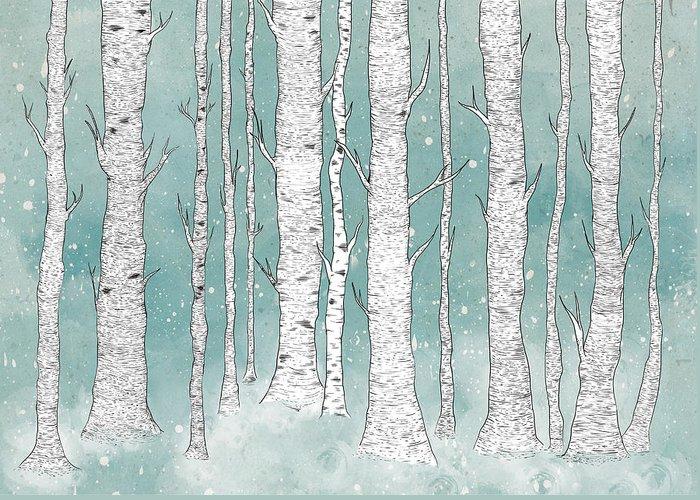 Birch Tree Digital Art Greeting Cards