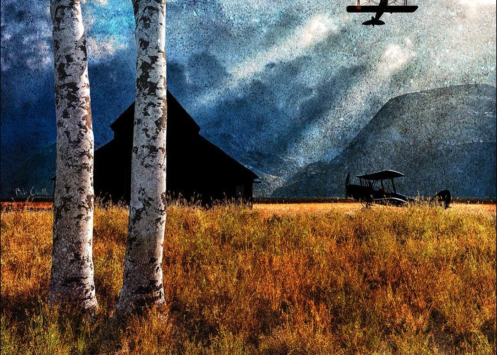 Airplane Greeting Card featuring the painting Birch Trees And Biplanes by Bob Orsillo