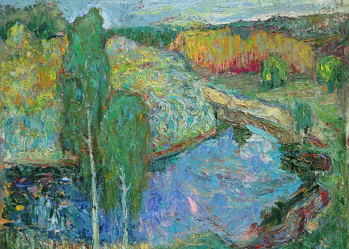 Landscape Greeting Card featuring the painting Birches by Evgen Bondarevskiy