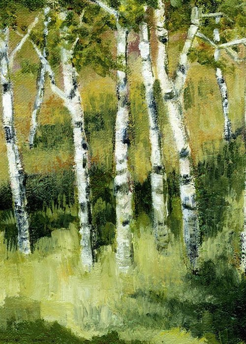 Trees Greeting Card featuring the painting Birches On A Hill by Michelle Calkins