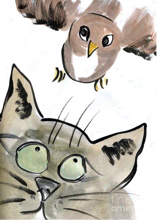 Bird Greeting Card featuring the painting Bird by Ellen Miffitt