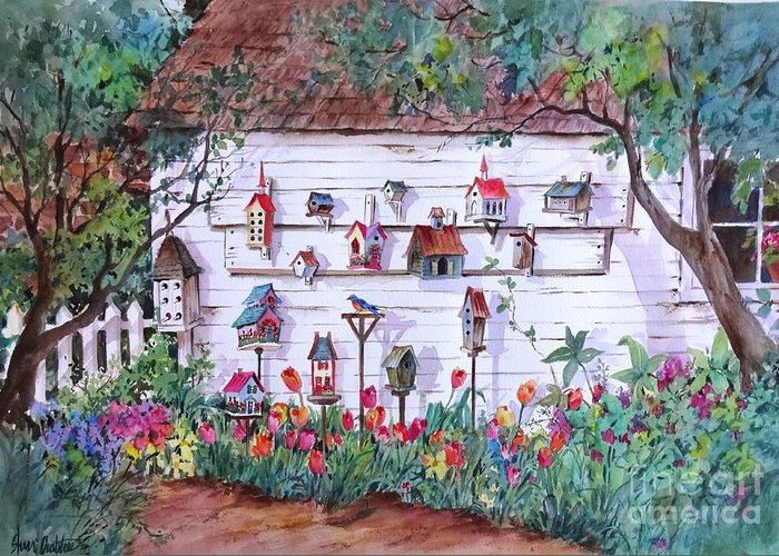 Birdhouse Greeting Card featuring the painting Bird Lover Shed by Sherri Crabtree