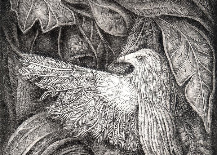 Nature Greeting Card featuring the drawing Bird Of Life by Praphavit Premtha
