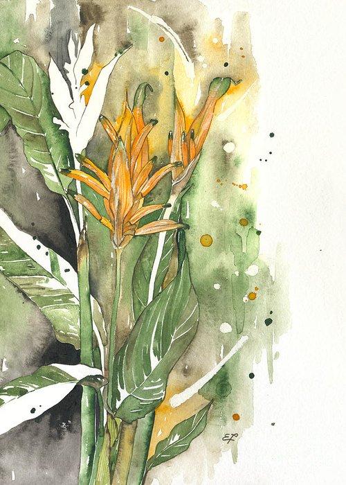 Strelitzia Greeting Card featuring the painting Bird Of Paradise 08 Elena Yakubovich by Elena Yakubovich