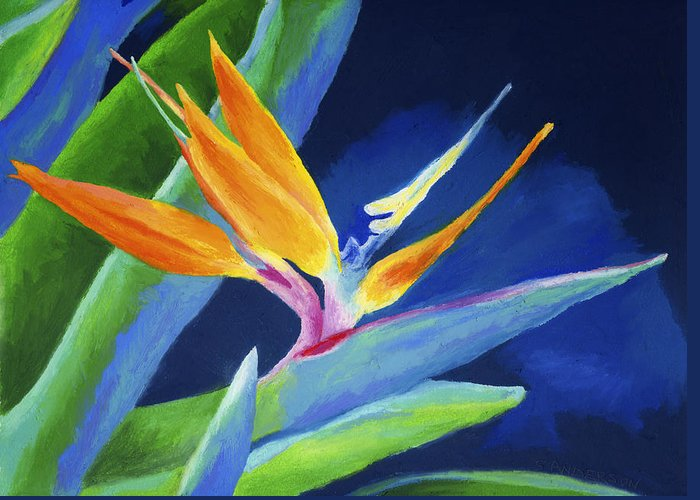 Flower Greeting Card featuring the painting Bird Of Paradise by Stephen Anderson