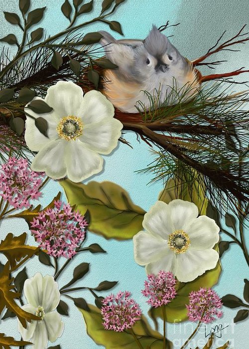 Bird Greeting Card featuring the painting Bird On Pine Branch by Nancy Long