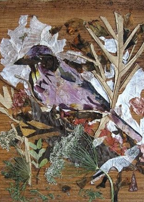 Bird Scrub Joy Greeting Card featuring the mixed media Bird Scubjoy by Basant Soni