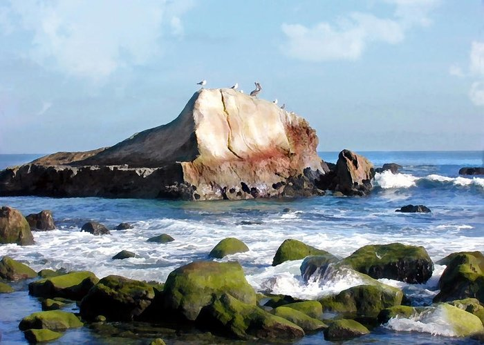 Ocean Greeting Card featuring the painting Bird Sentry Rock At Dana Point Harbor by Elaine Plesser