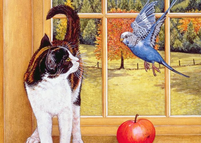 Cat Greeting Card featuring the painting Bird Watching by Ditz