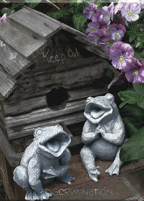 Birdhouse Greeting Card featuring the photograph Birdhouse With Frogs by Bonnie Willis