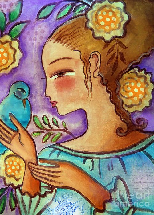 Flowers Greeting Card featuring the mixed media Birdie by Elaine Jackson
