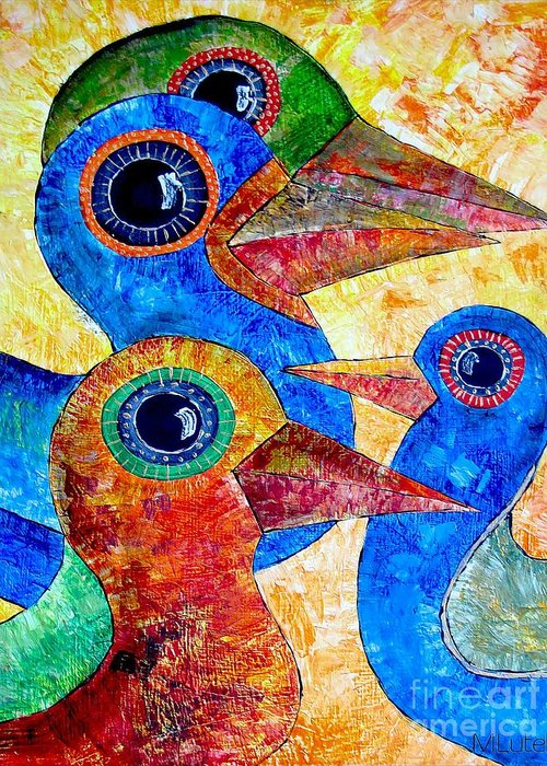 Birds Greeting Card featuring the painting Birds 736 - Marucii by Marek Lutek