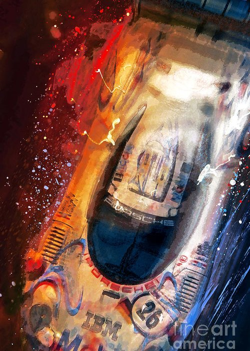 Porsche Greeting Card featuring the mixed media Birds Eye View To A Win by Alan Greene