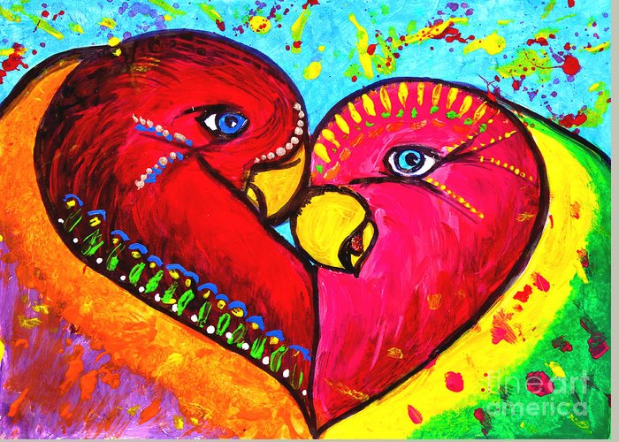 Birds In Love Pop Art Greeting Card featuring the painting Birds In Love Pop Art by Julia Fine Art And Photography