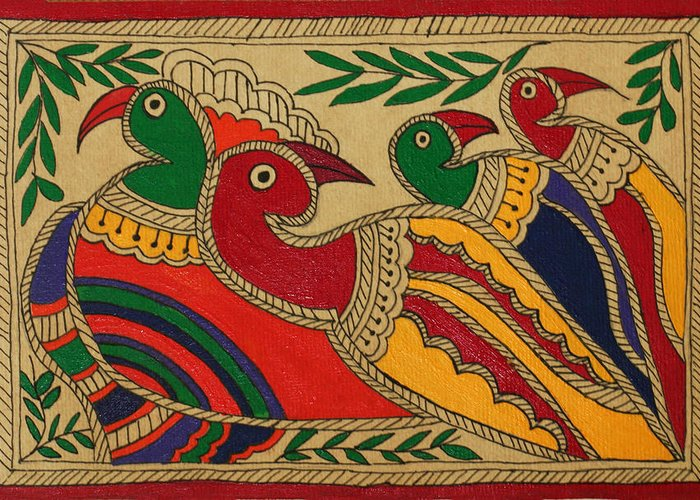Birds Greeting Card featuring the drawing Birds Of A Feather by Neha Dasgupta